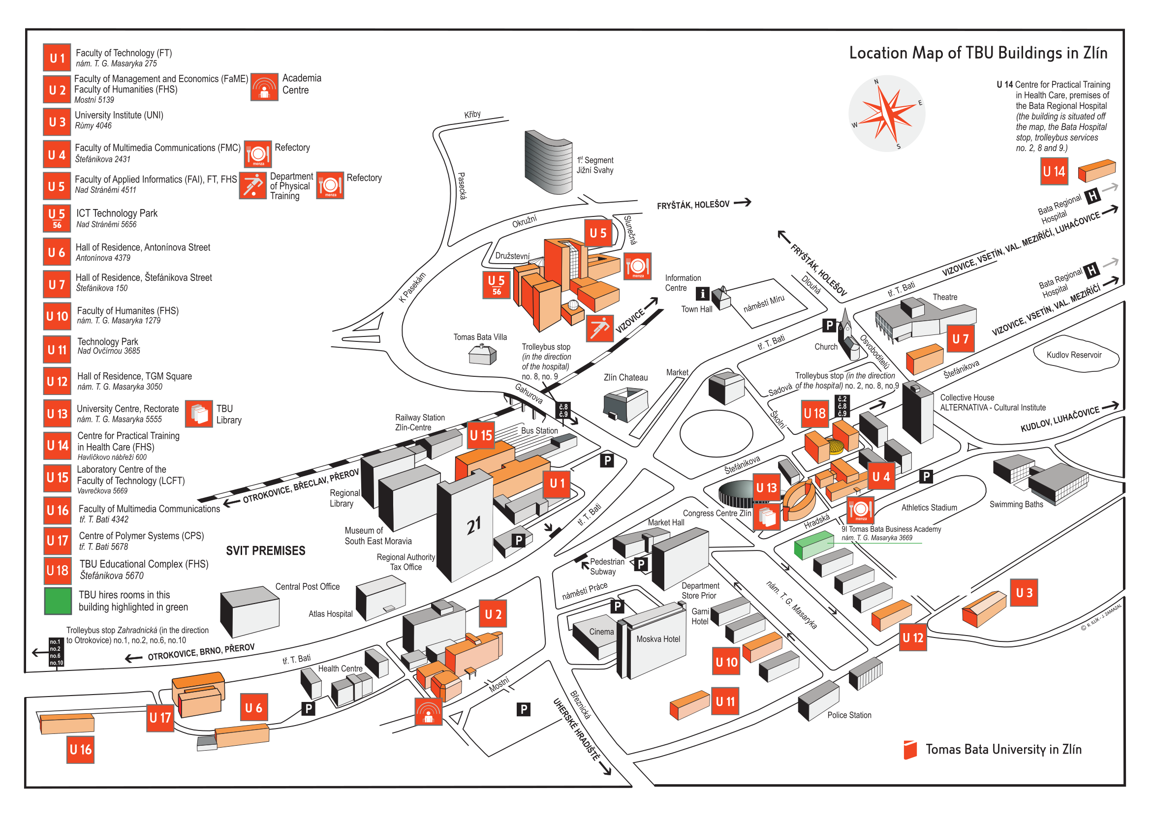 Location Map of TBU Buildings in Zlín