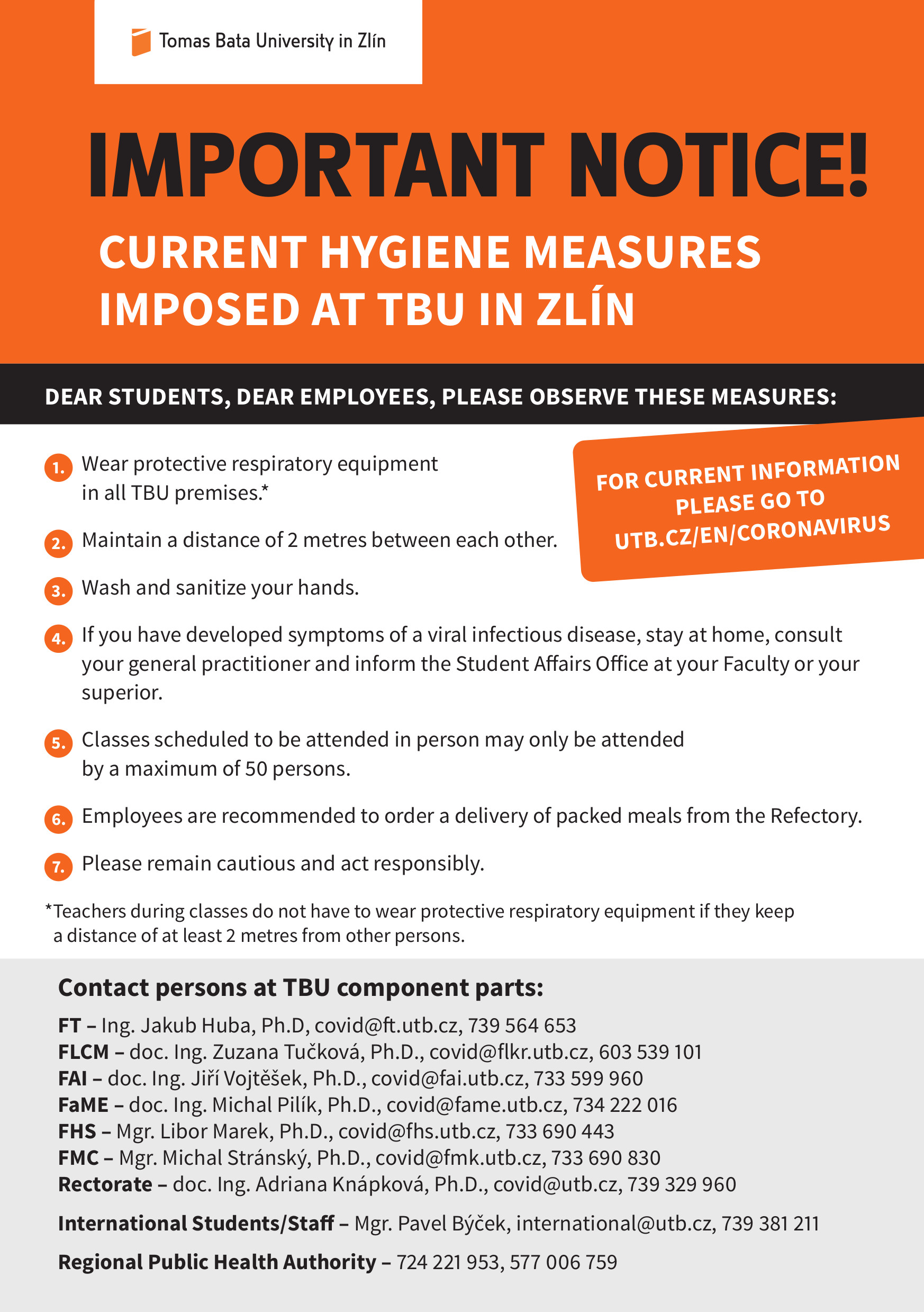 Current hygiene measures imposed at TBU in Zlín