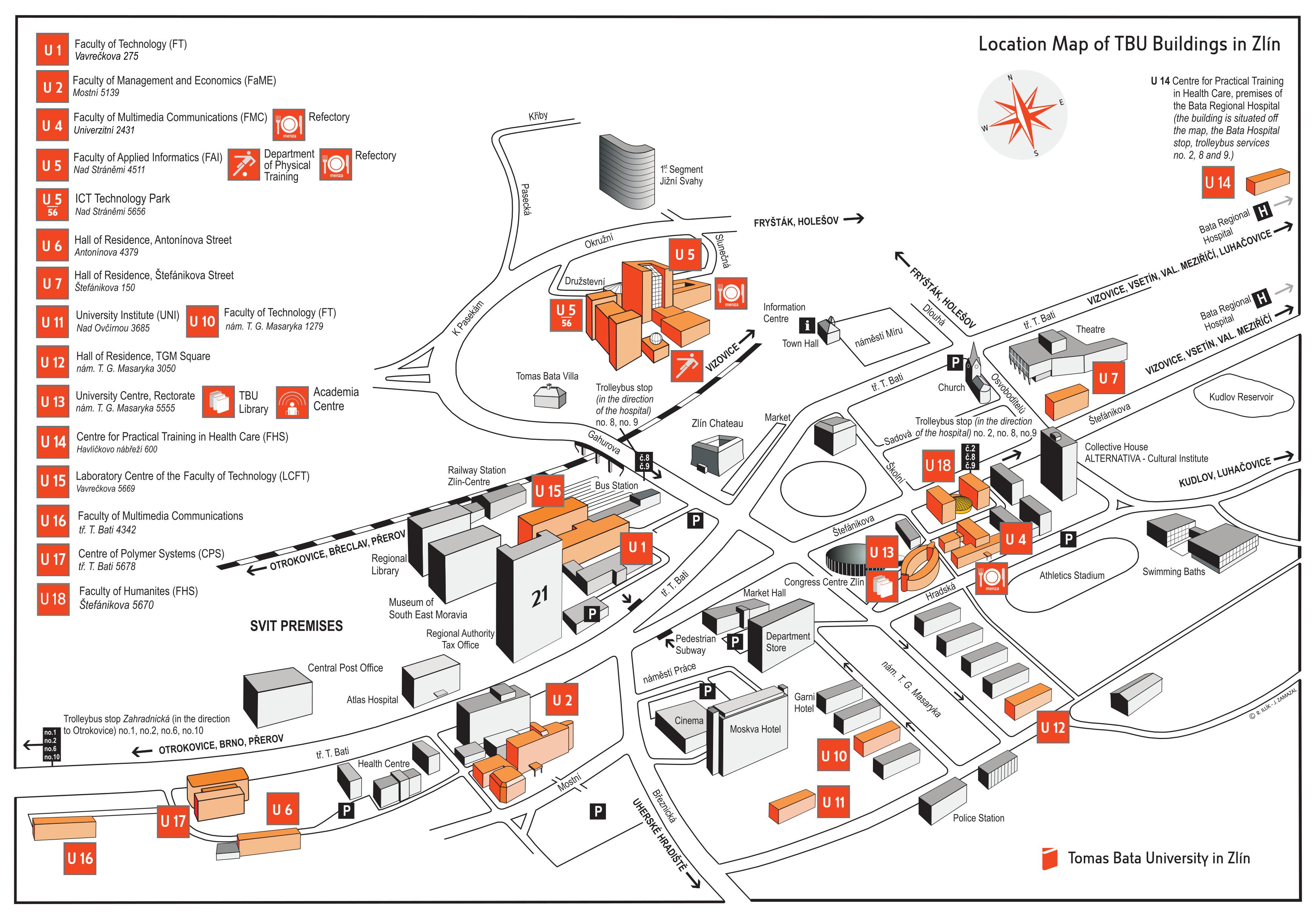 Location Map of TBU Buildings in Zlín